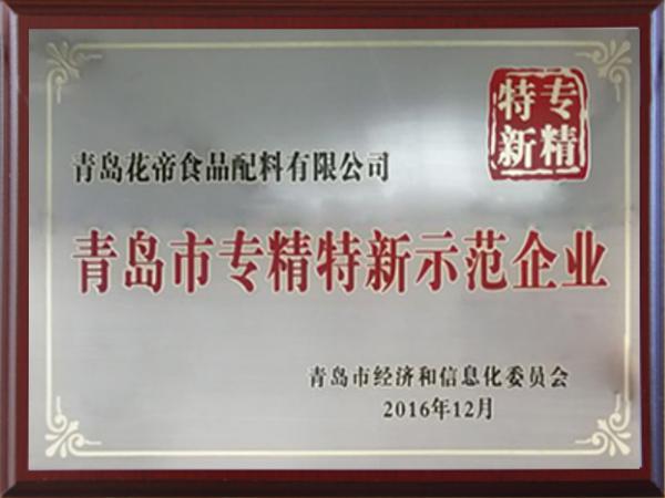 青岛市专精特新示范企业证书