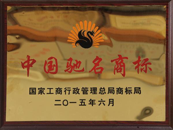 中国驰名商标证书